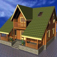 Проект деревянного дома-из-оцилиндрованного бревна