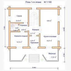 Проект деревянного дома-из-оцилиндрованного бревна 1 этаж