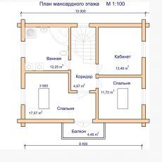 Проект деревянного дома-из-оцилиндрованного бревна 2 этаж
