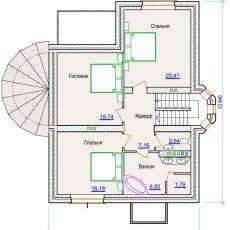 Проект компактного дома 2 этаж