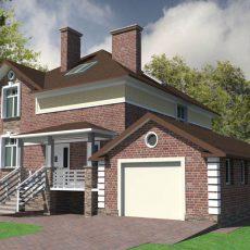 Проект загородного дома из кирпича с гаражом