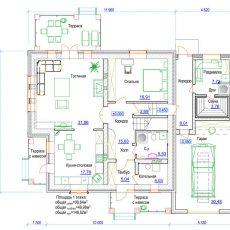 Проект загородного дома из кирпича с гаражом 1 этаж