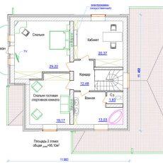 Проект загородного дома из кирпича с гаражом 2 этаж
